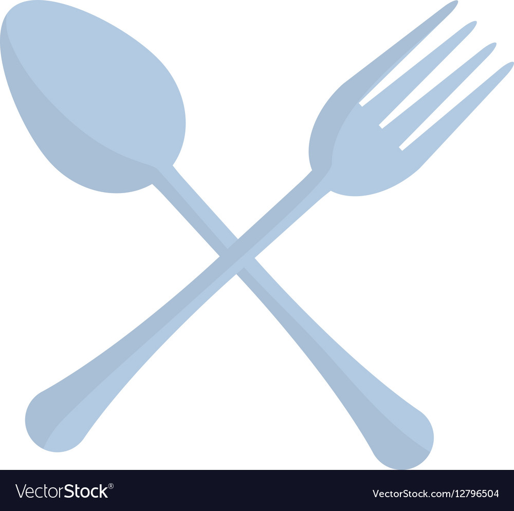 Crossed spoon and fork utensil kitchen vector image