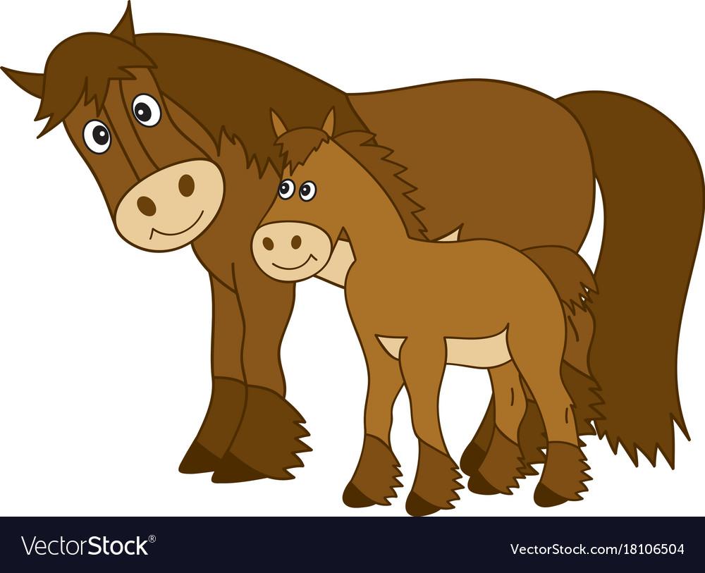 Cute cartoon horse with foal