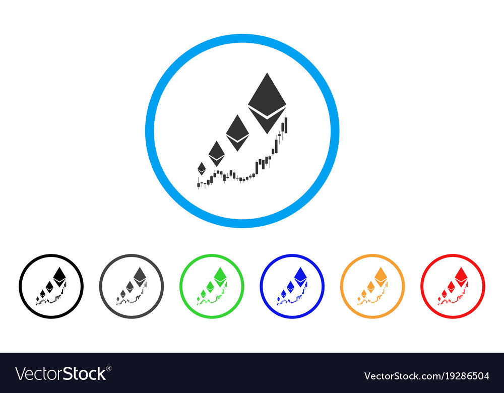 Ethereum growth chart rounded icon