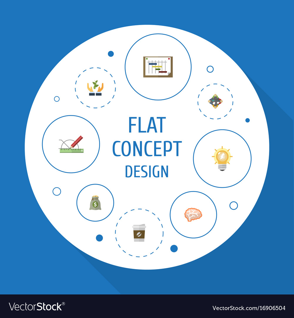 Flat icons design mind help and other vector image