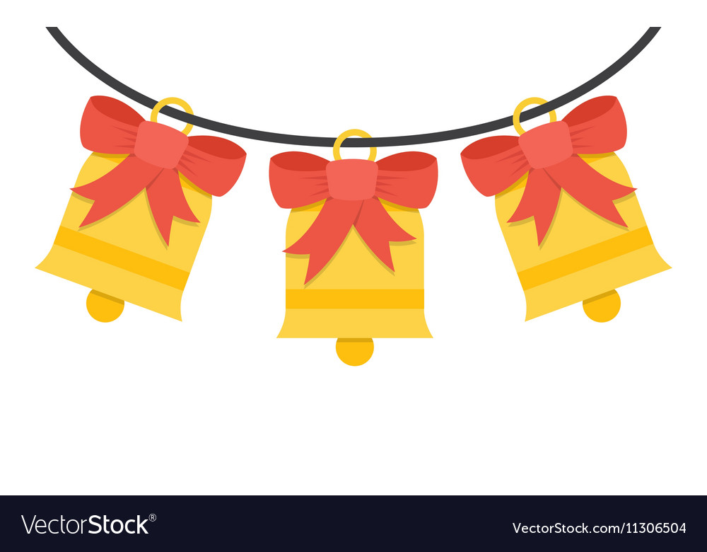 Jingle bells with red bow on a white background