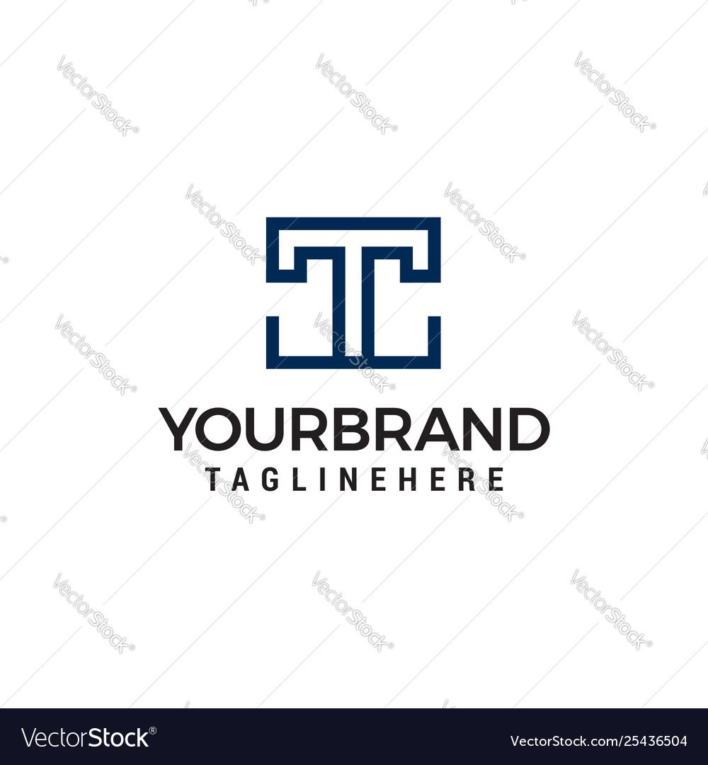 Letter tt square geometric logo design concept