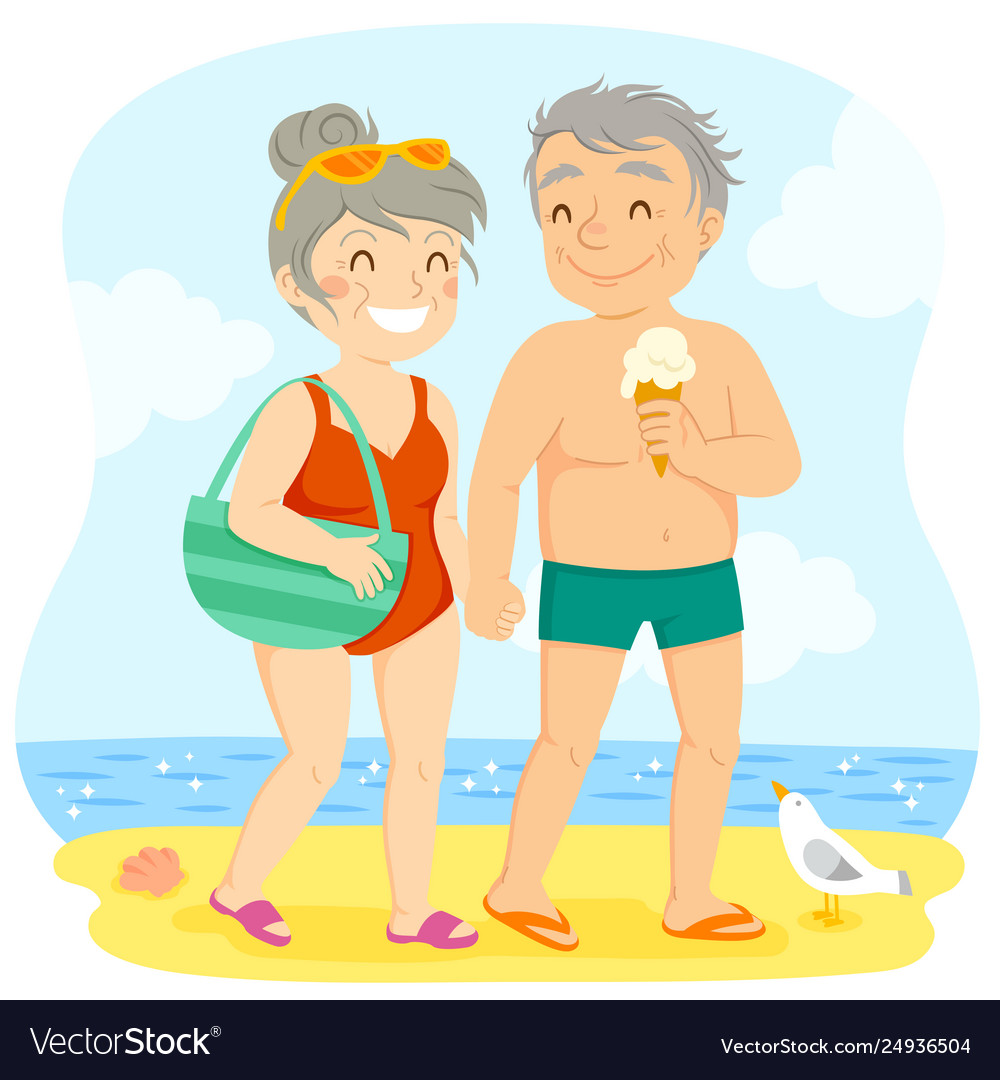 Older couple at beach