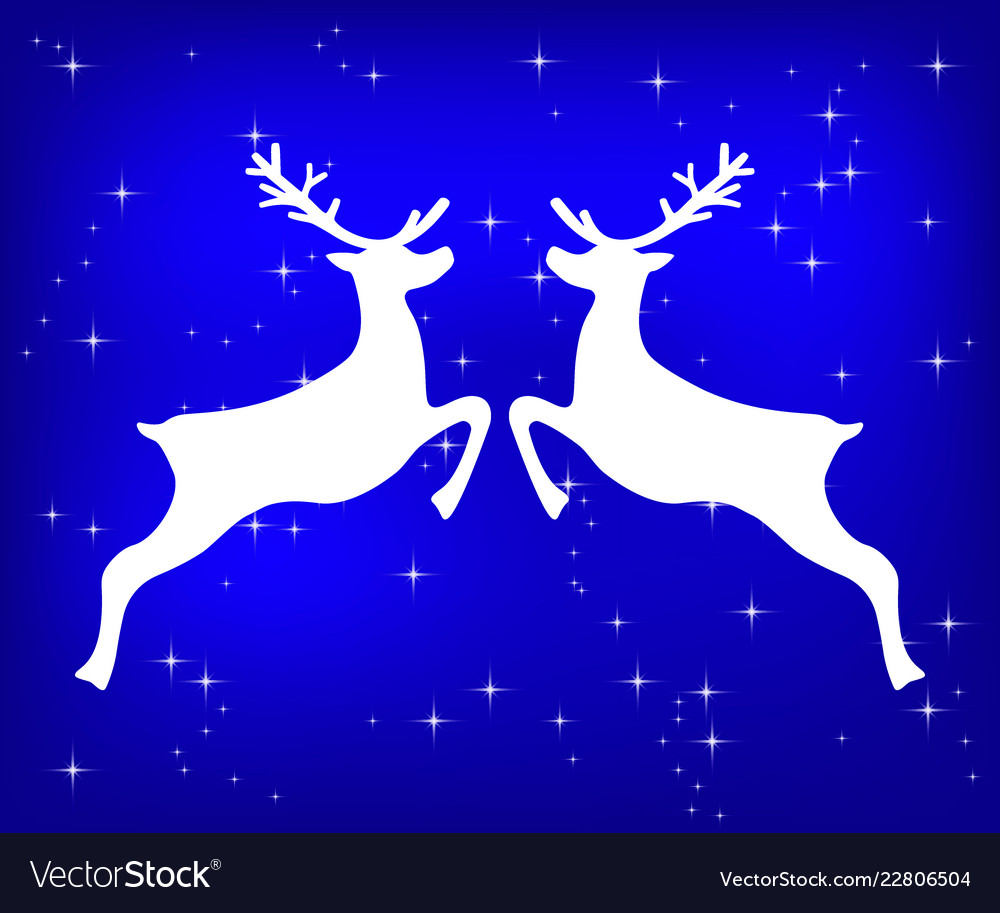 Reindeer on a blue glittering christmas background