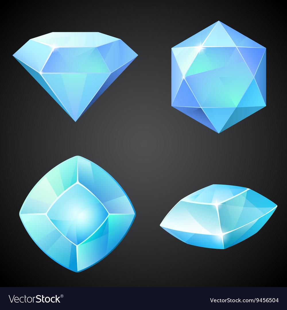 Marvelous Set Of Lightblue Gemstones Vector Image
