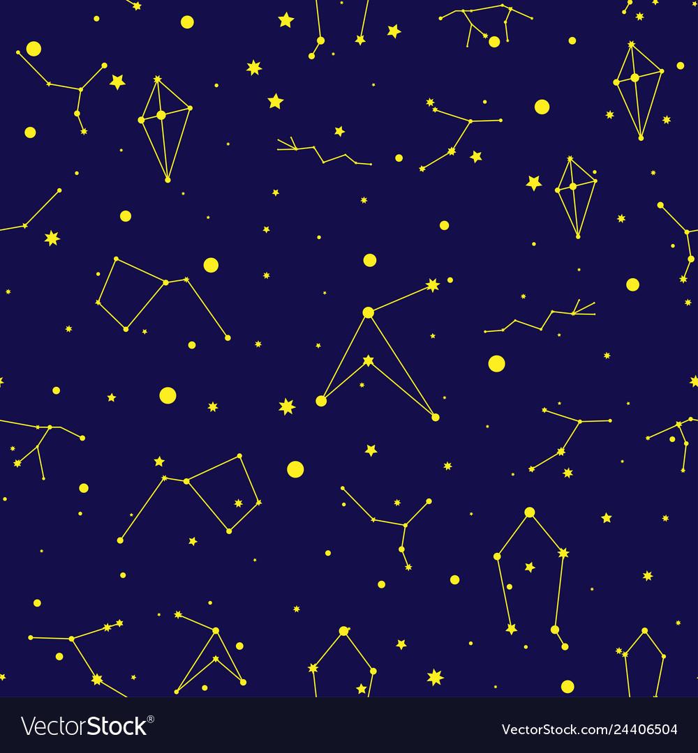 Space seamless pattern night sky hand