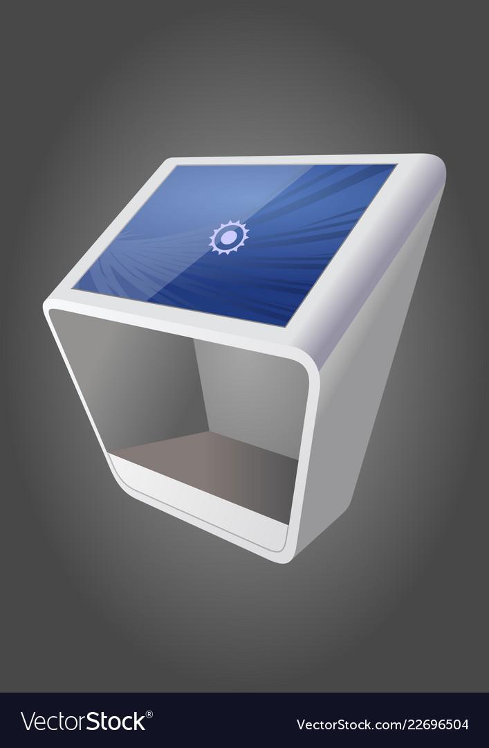 White promotional interactive information kiosk