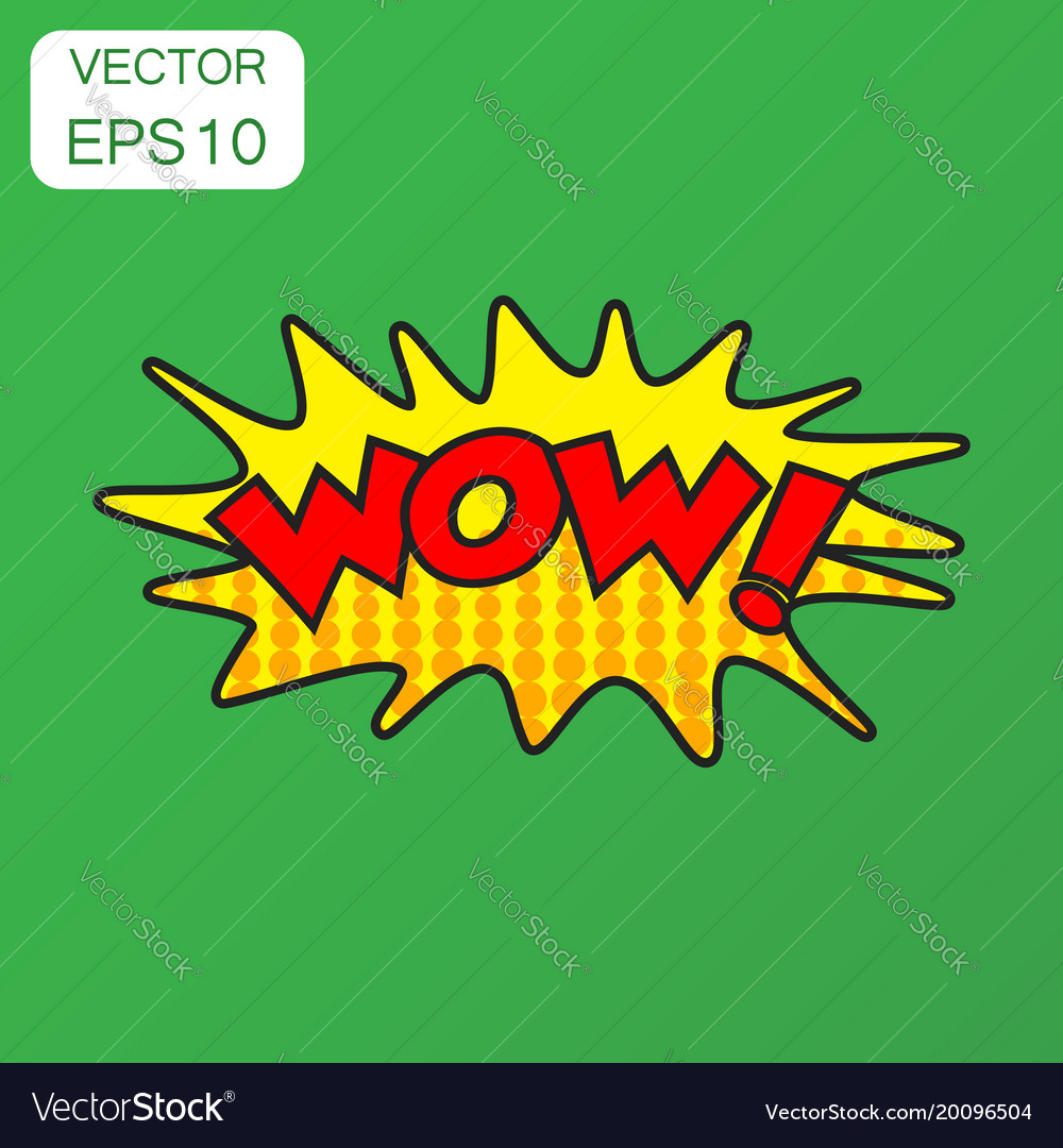 Wow comic sound effects icon business concept wow