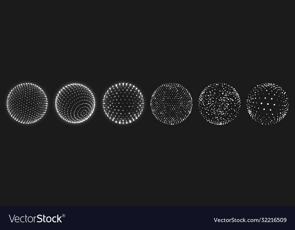 Abstract grid sphere realistic 3d globes set