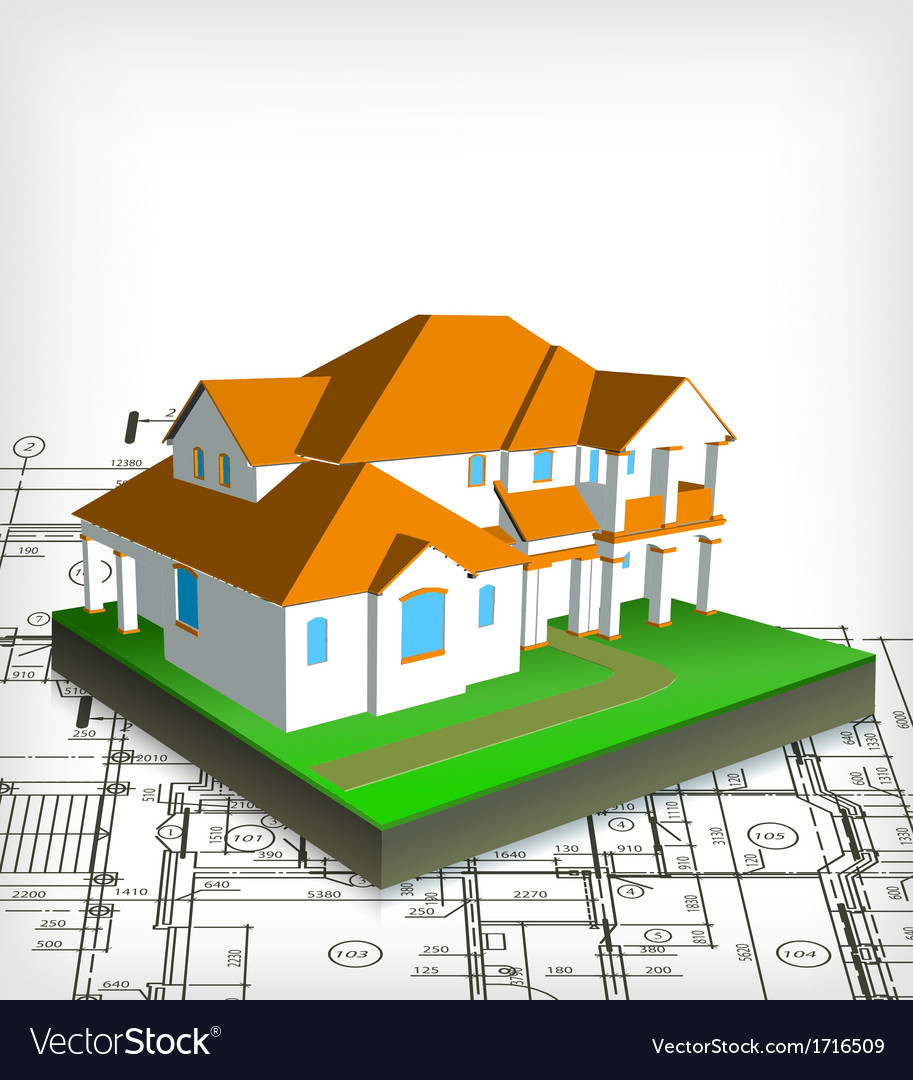 Architectural house technical draw