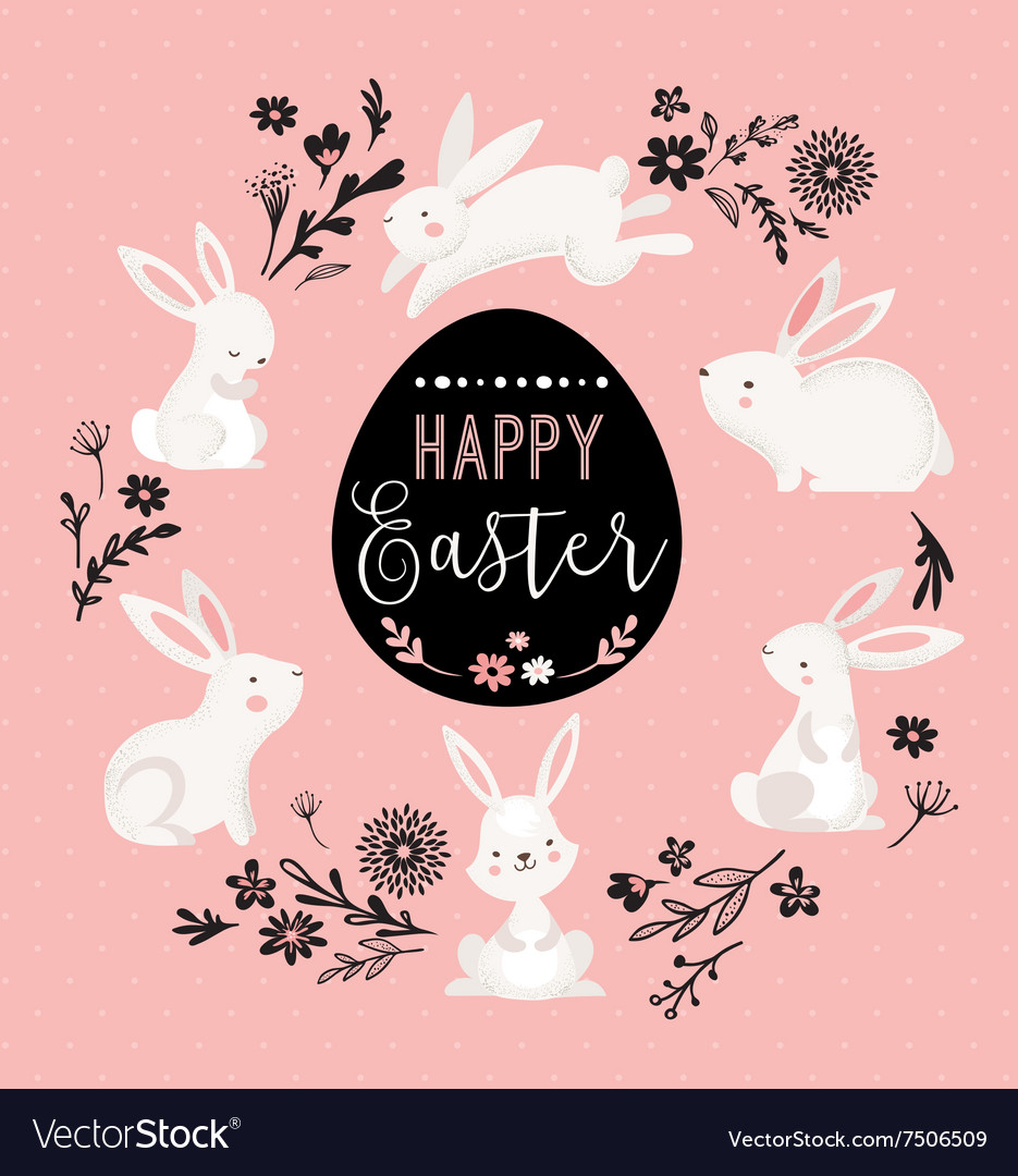 Easter design with cute banny and text hand drawn