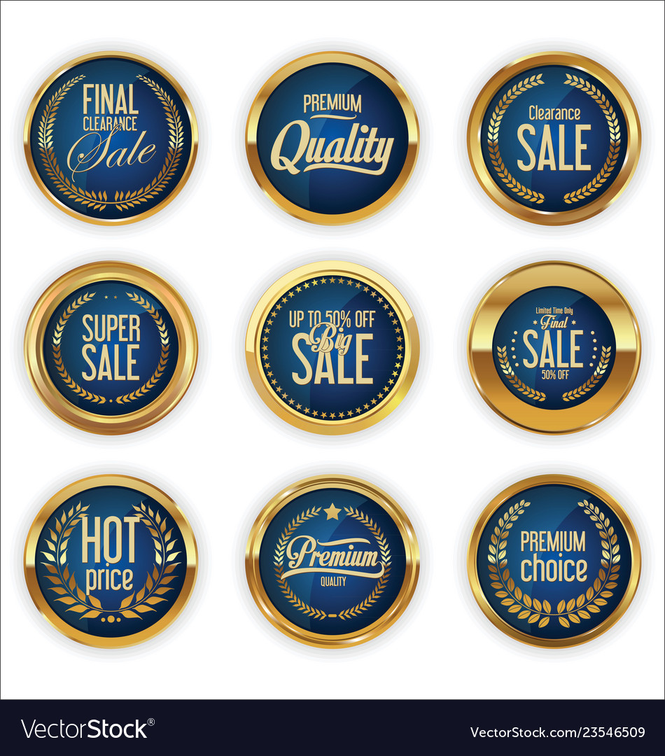 Golden badges and labels with laurel wreath