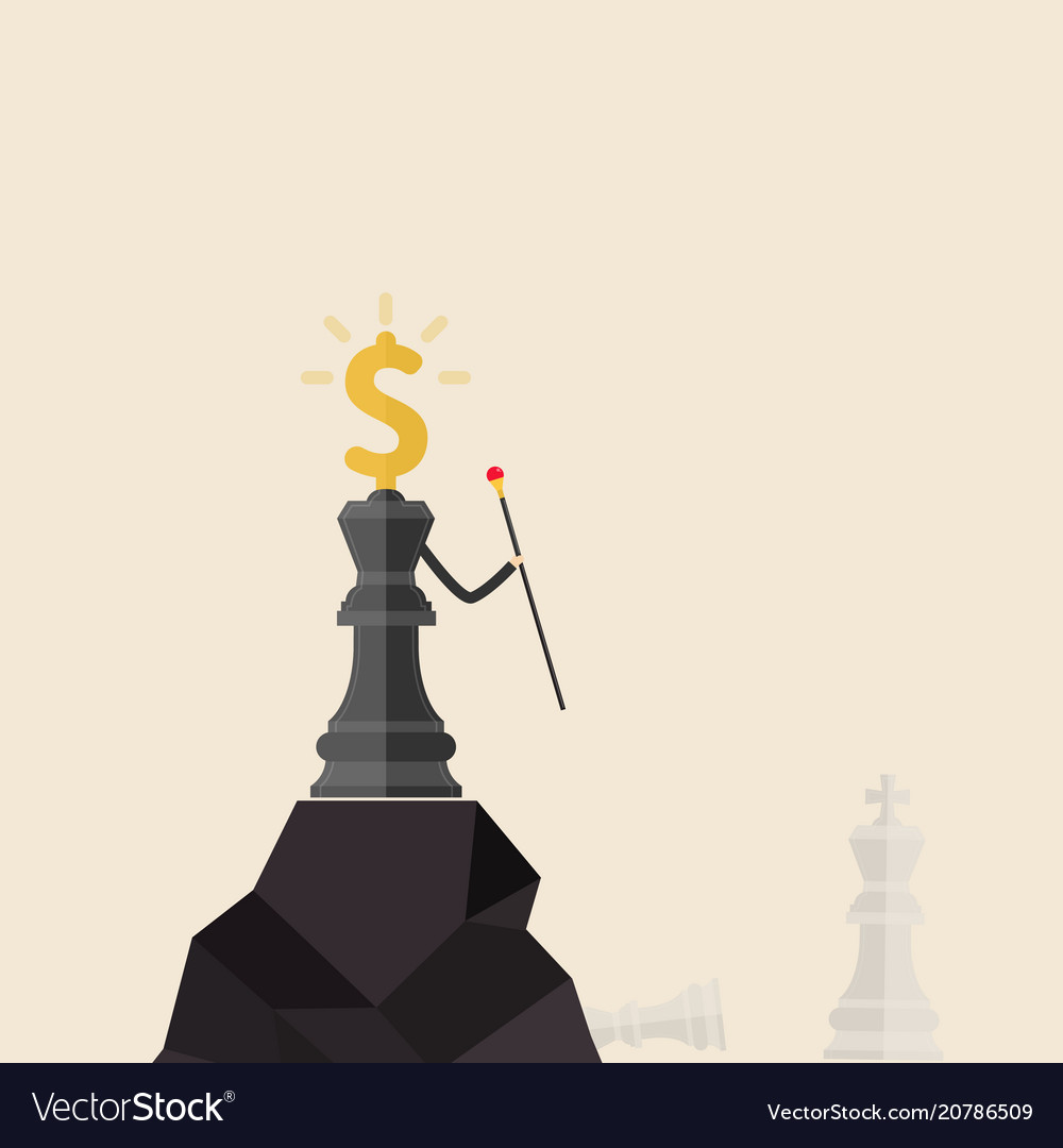 King of chess and dollars icon stand on the top