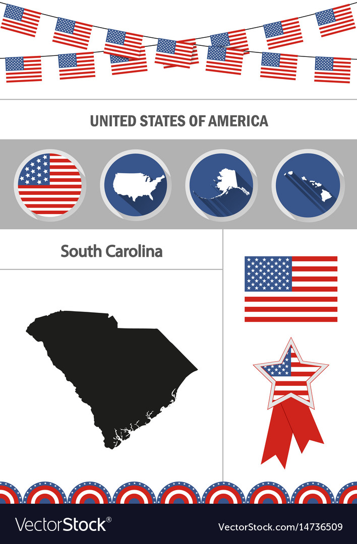 Map of south carolina set of flat design icons