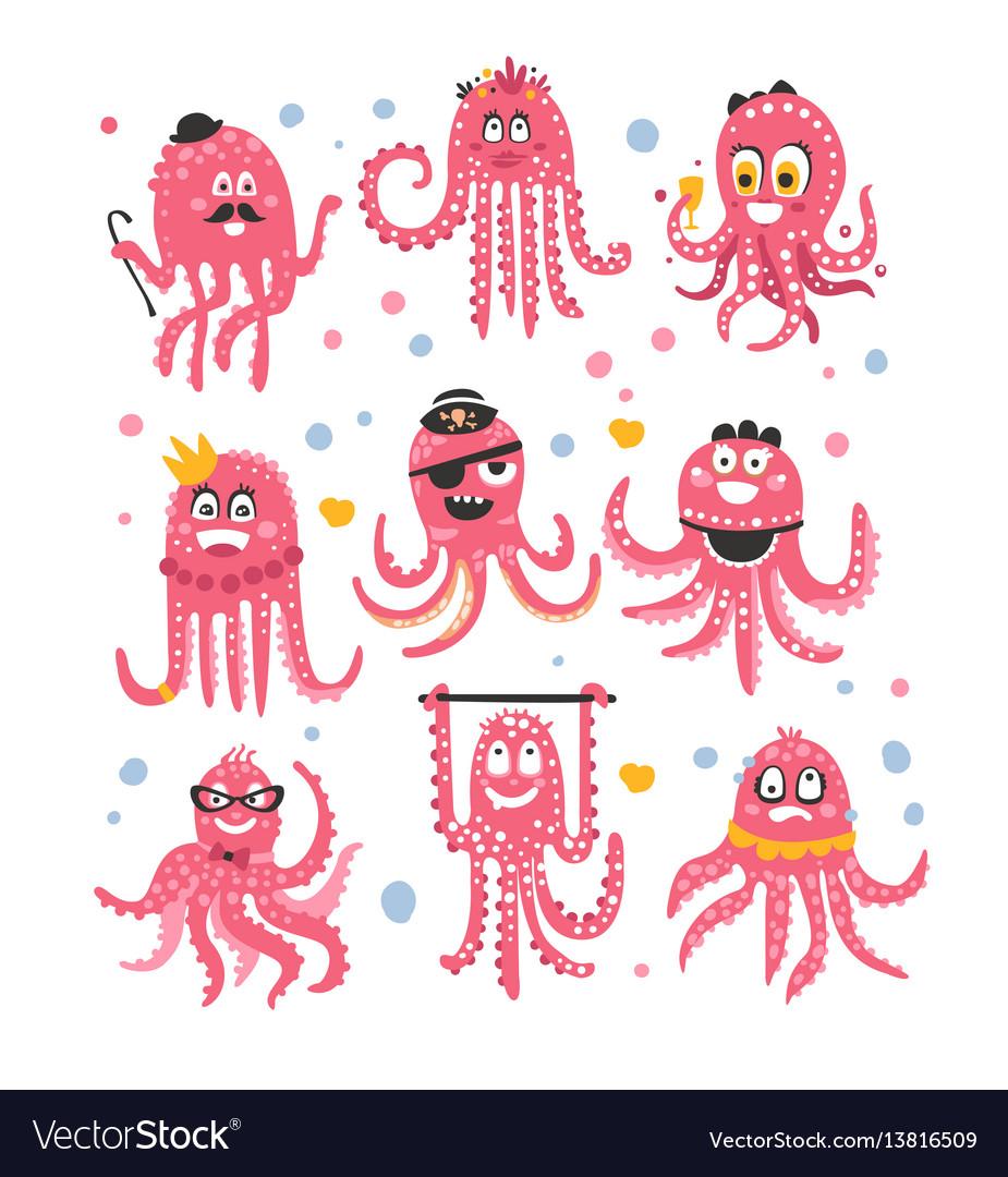 Octopus emoticon icons with funny cute cartoon vector image