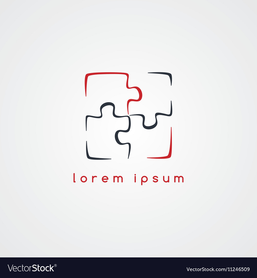 Puzzle jigsaw logo sign template Royalty Free Vector Image