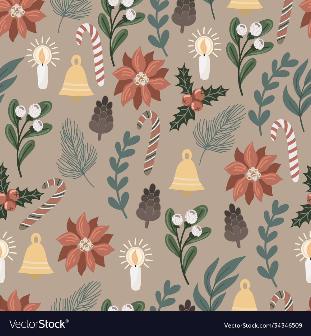 Seamless pattern with christmas decor and flowers