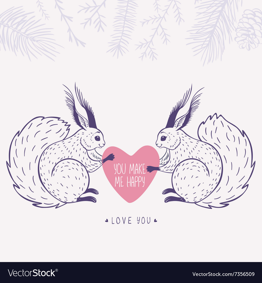 Squirrels and heart vector image