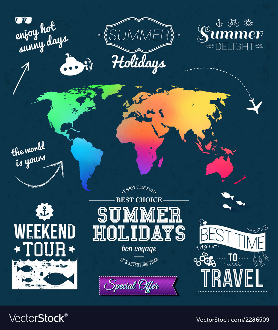 Summer design Set of typographic labels for summer