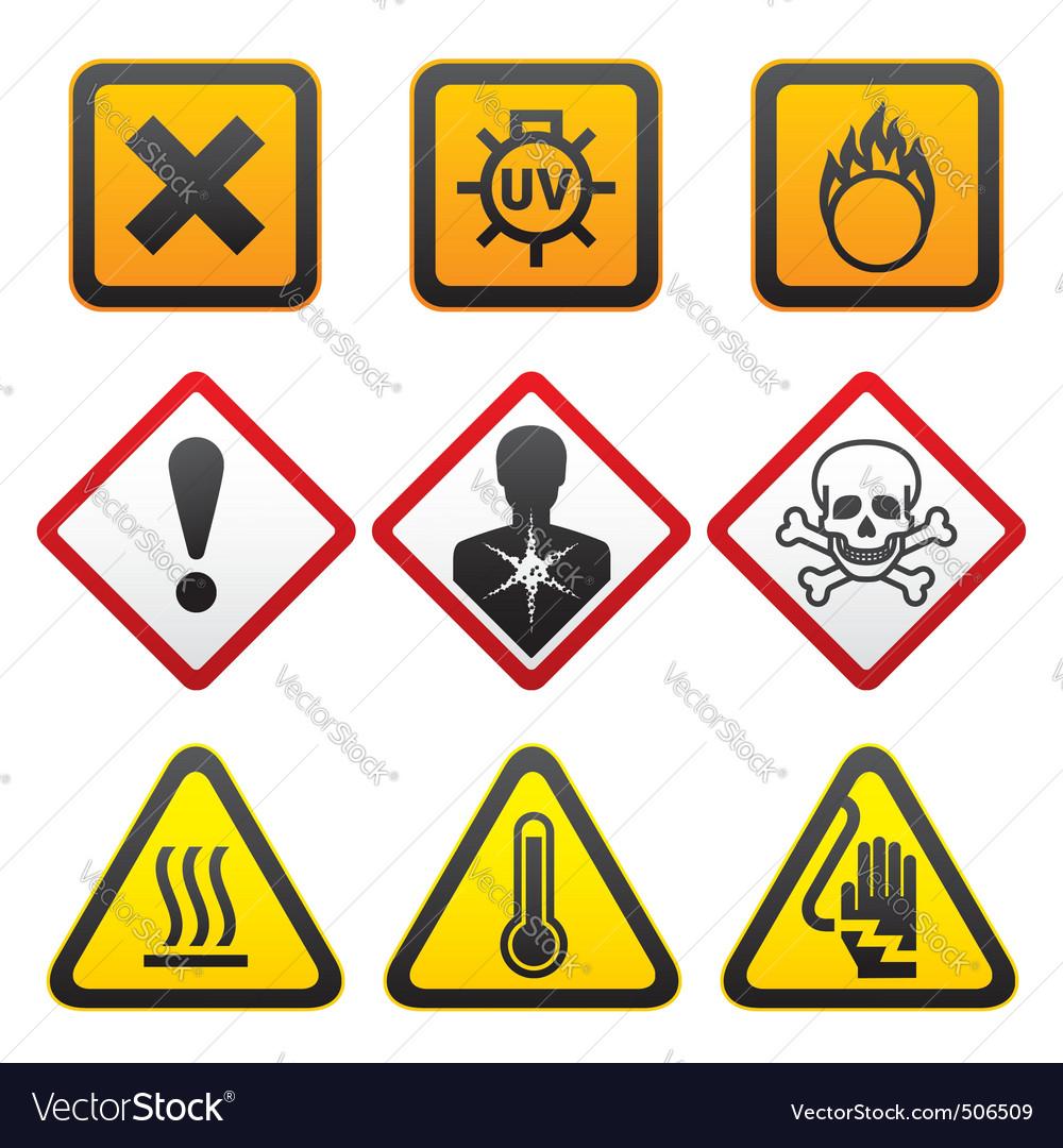 Warning symbols hazard signsforth set vector image