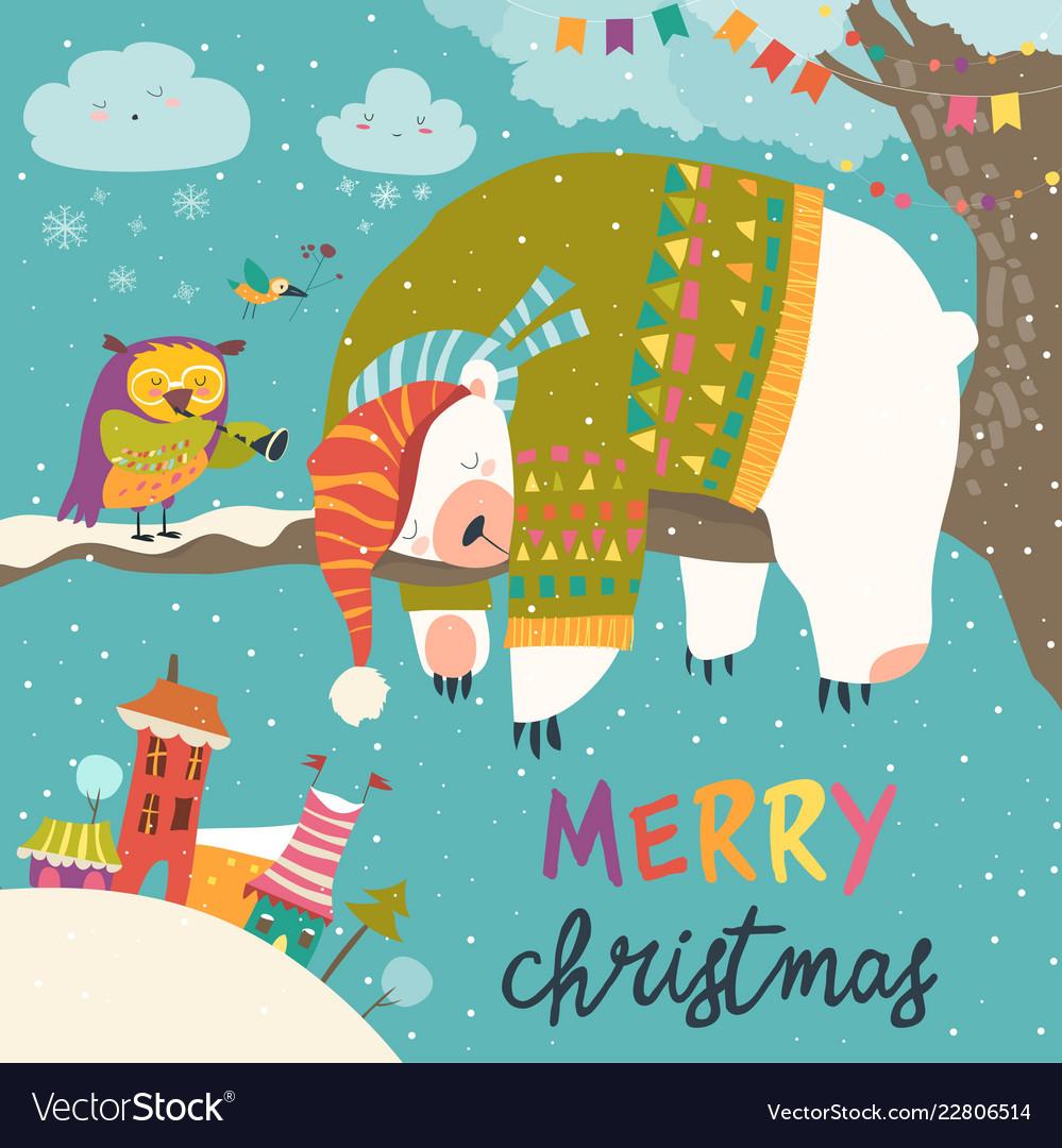 Christmas card with sleeping polar bear and