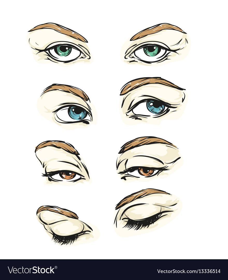 Hand drawn womens eyes vintage vector image