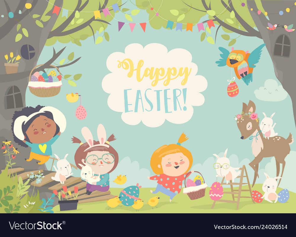 Happy children and animals celebrating easter in