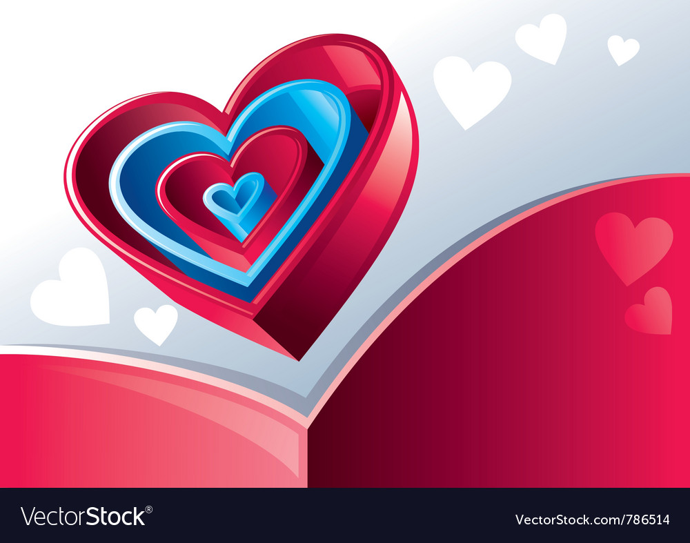 Red and blue hearts vector image