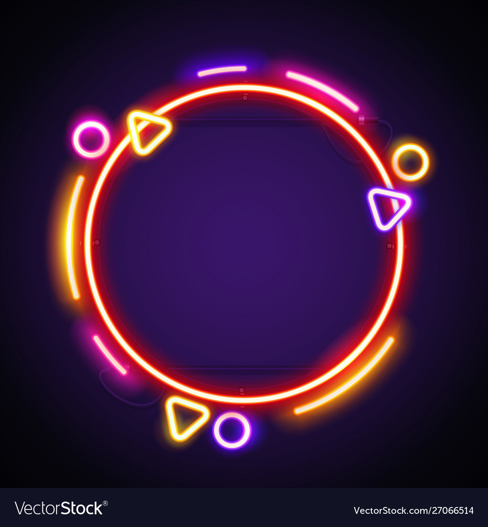 Round colorful neon frame