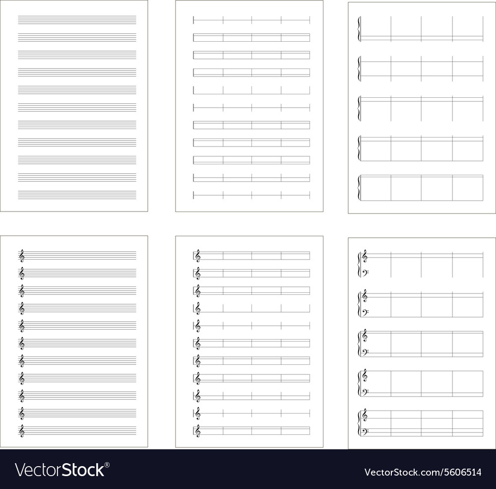 Set of six types music note staves a4 sheets