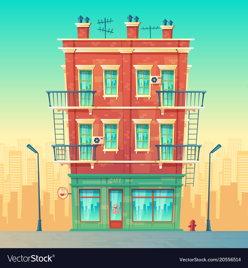 Street cafe in residential multi storey vector image