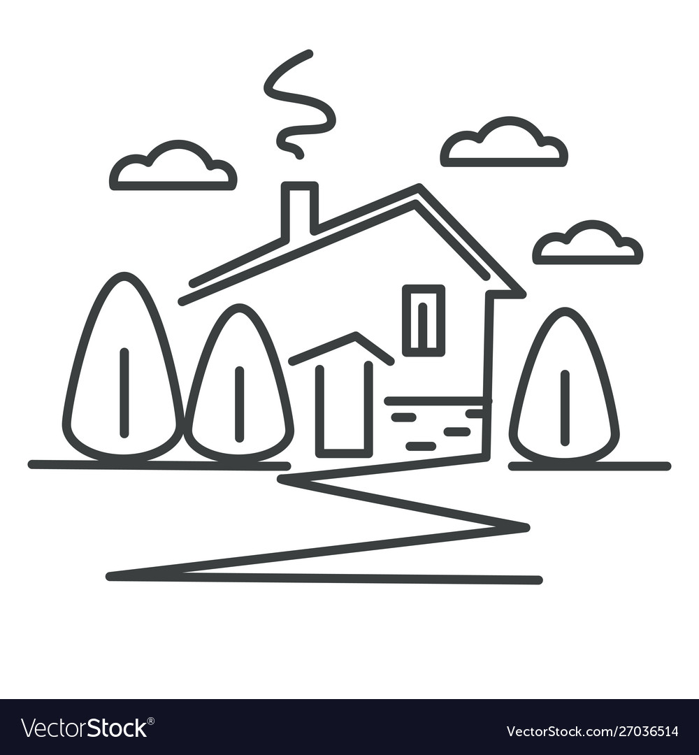 Suburban house or cottage in village isolated