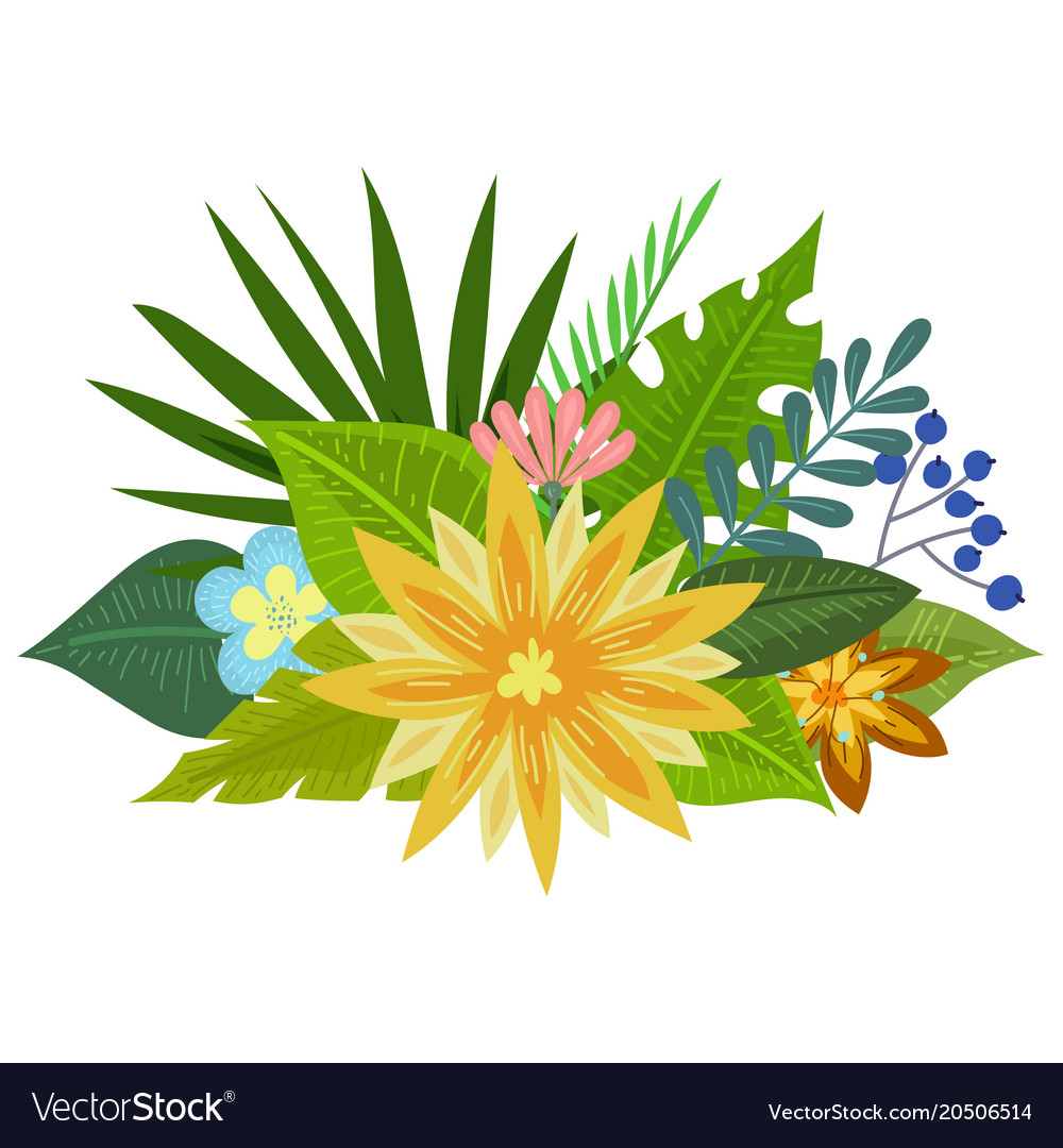 Tropical flowers bouquet royalty free vector image tropical flowers bouquet vector image izmirmasajfo