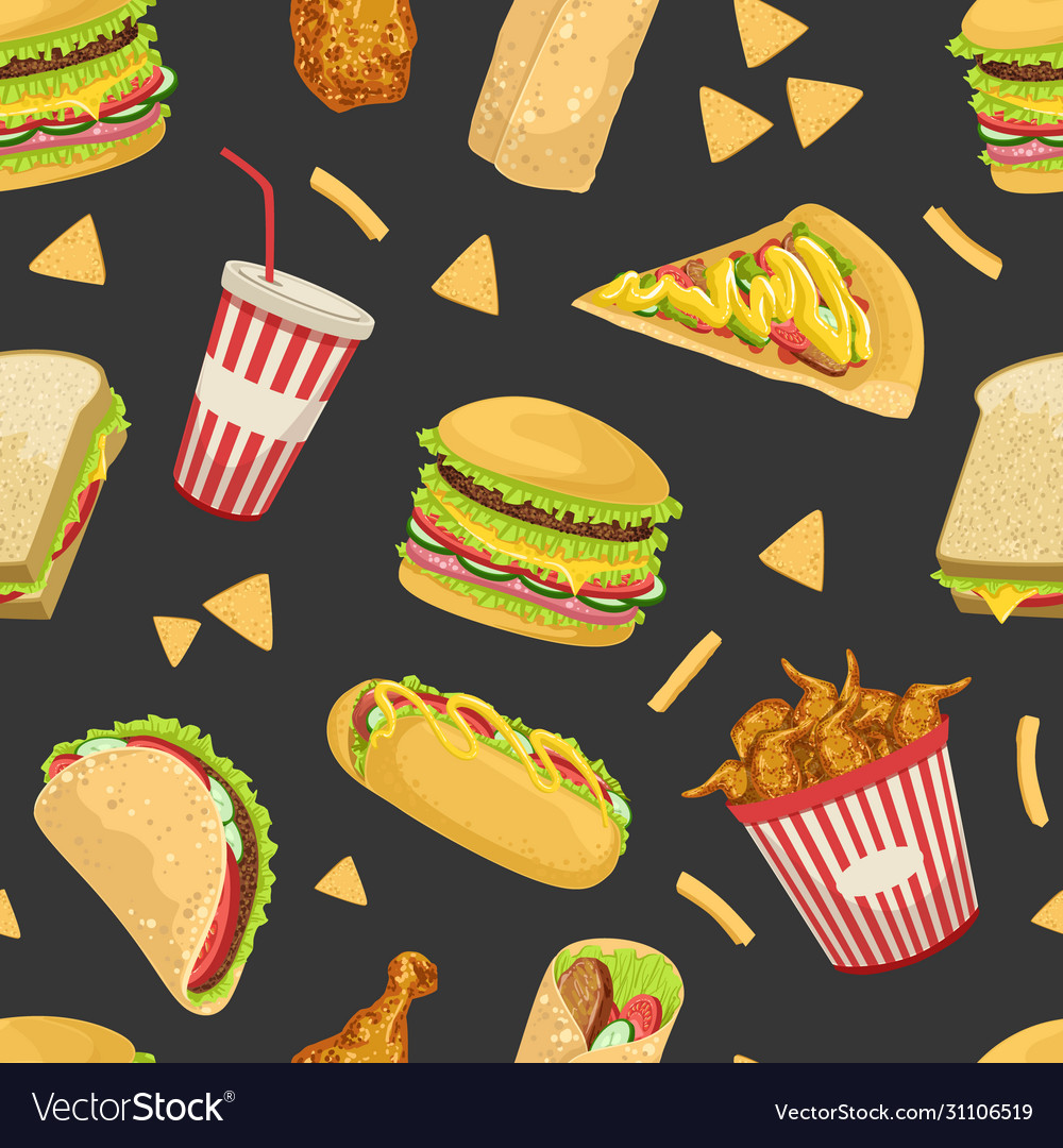 Fast food seamless pattern tasty unhealthy meals