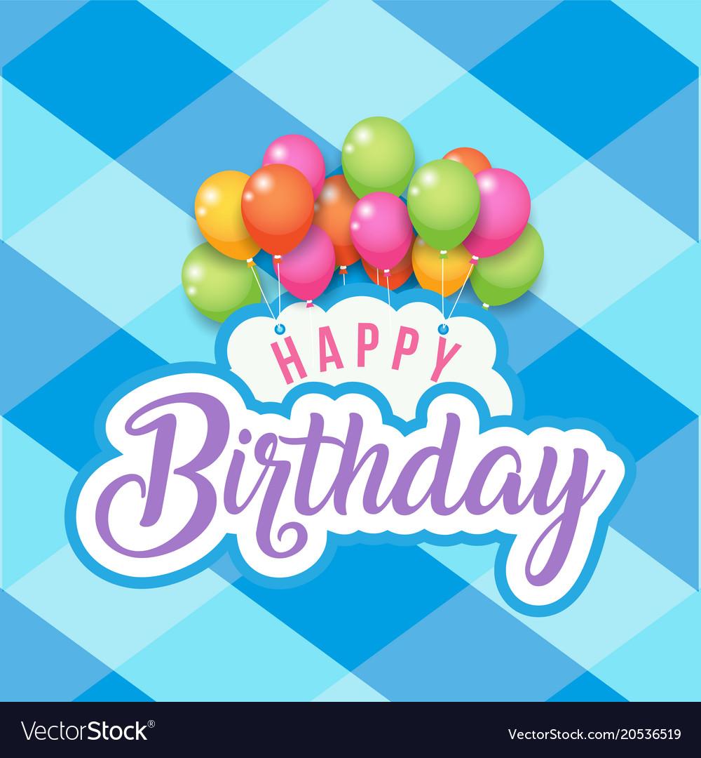 Happy birthday balloon blue square grid background