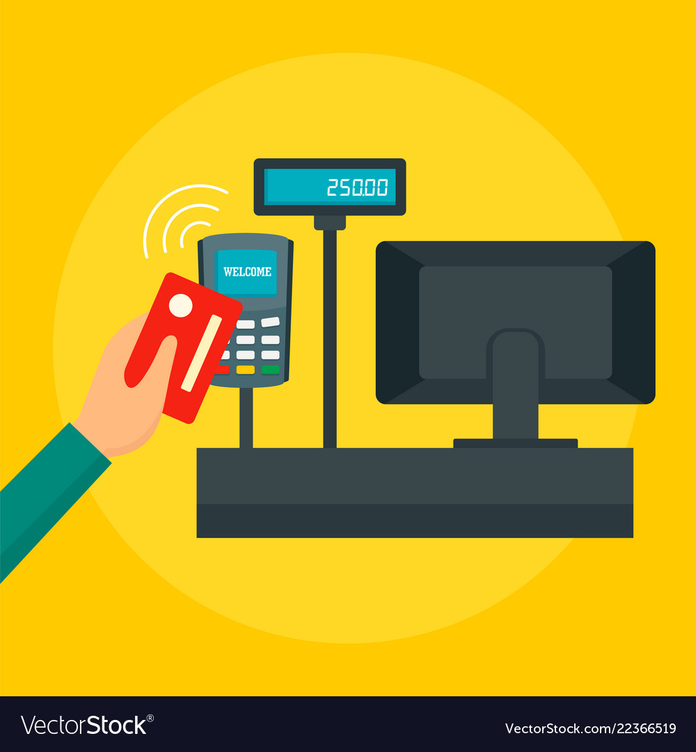 Pay with credit card concept background flat