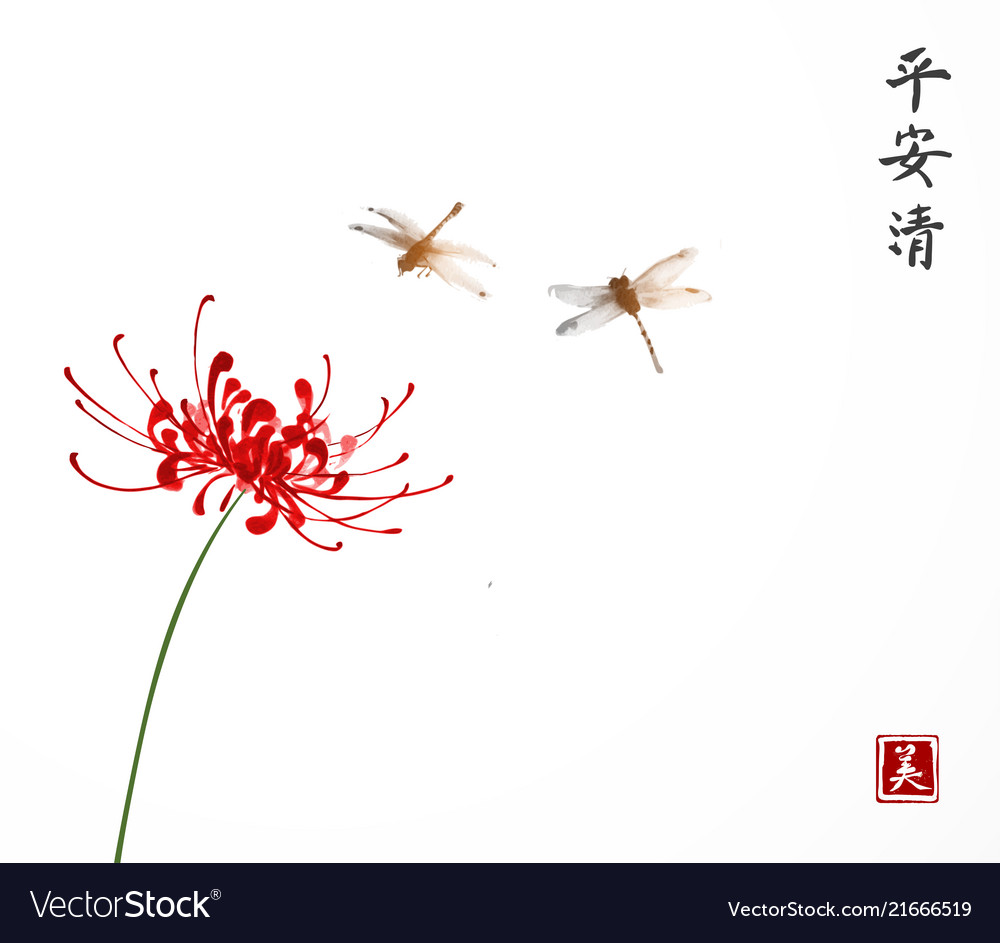 Red chrysanthemum and two little dragonflies on