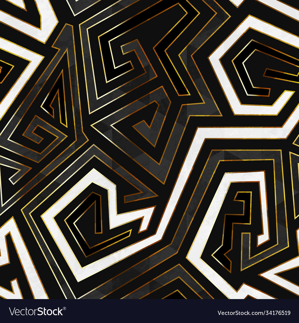 Retro geometric seamless pattern with gold frame