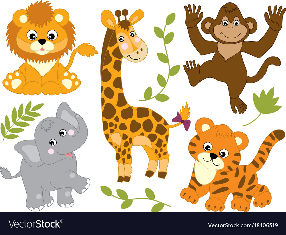 set of jungle animals royalty free vector image