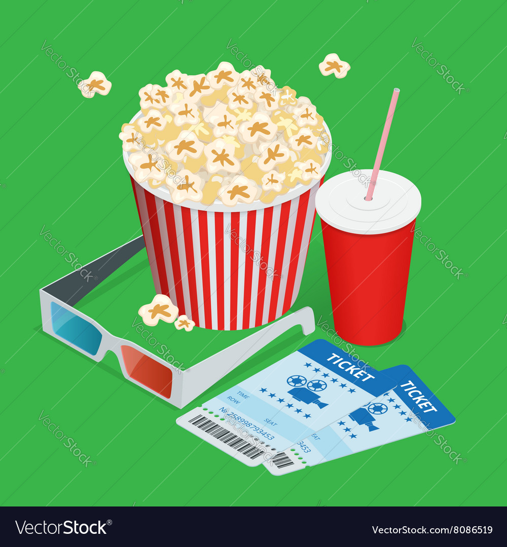 Set popcorn drink 3d glasses realistic