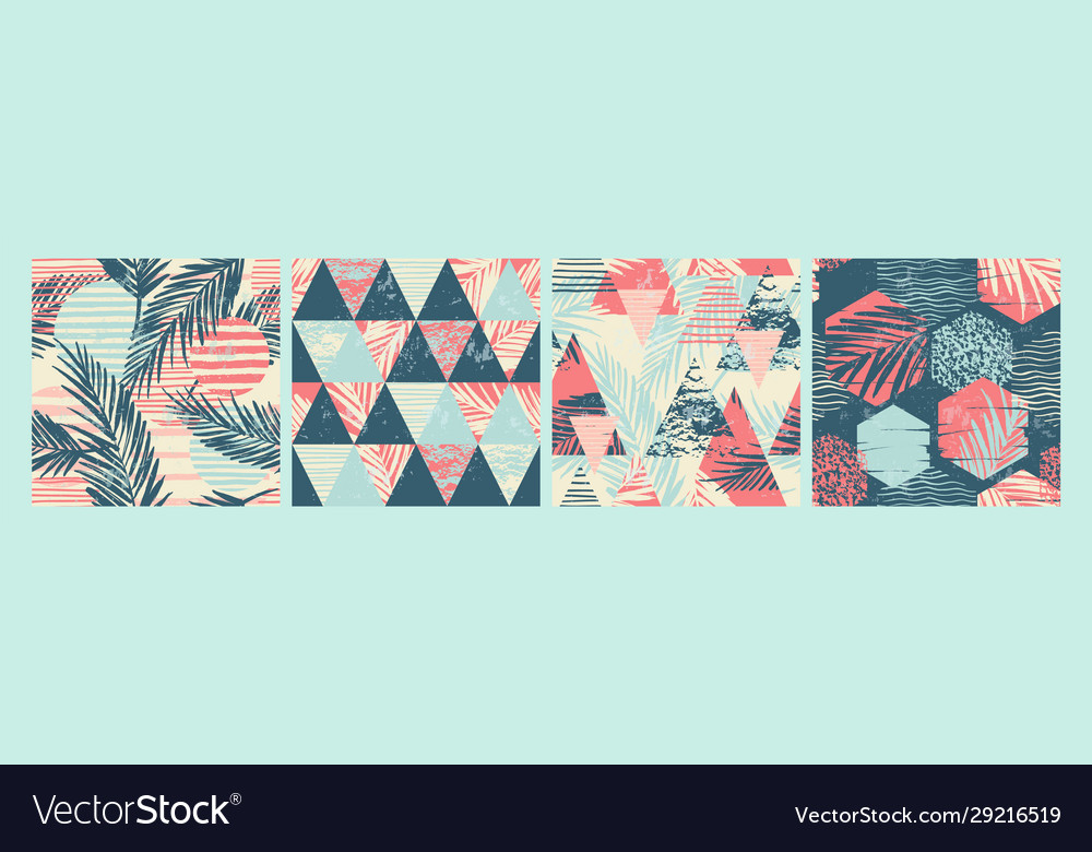 Set tropical and sea seamless patterns