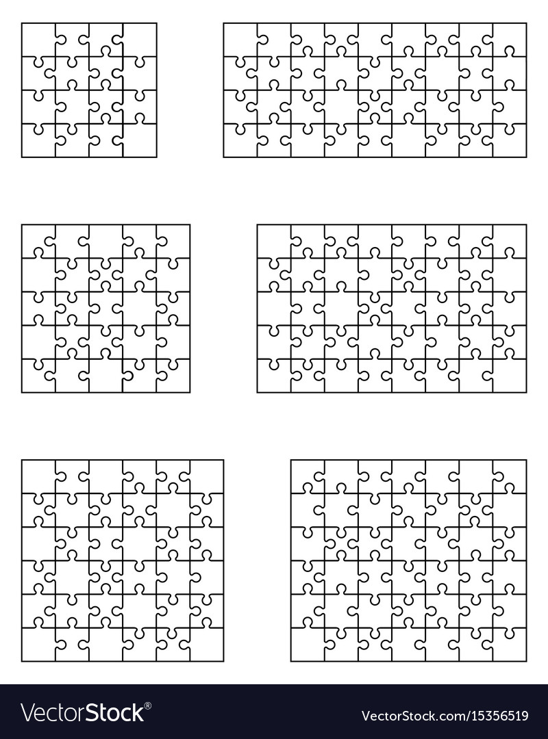 Six white puzzles vector image