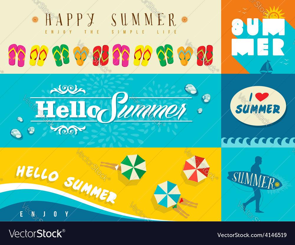 Summer flat banner set vector image