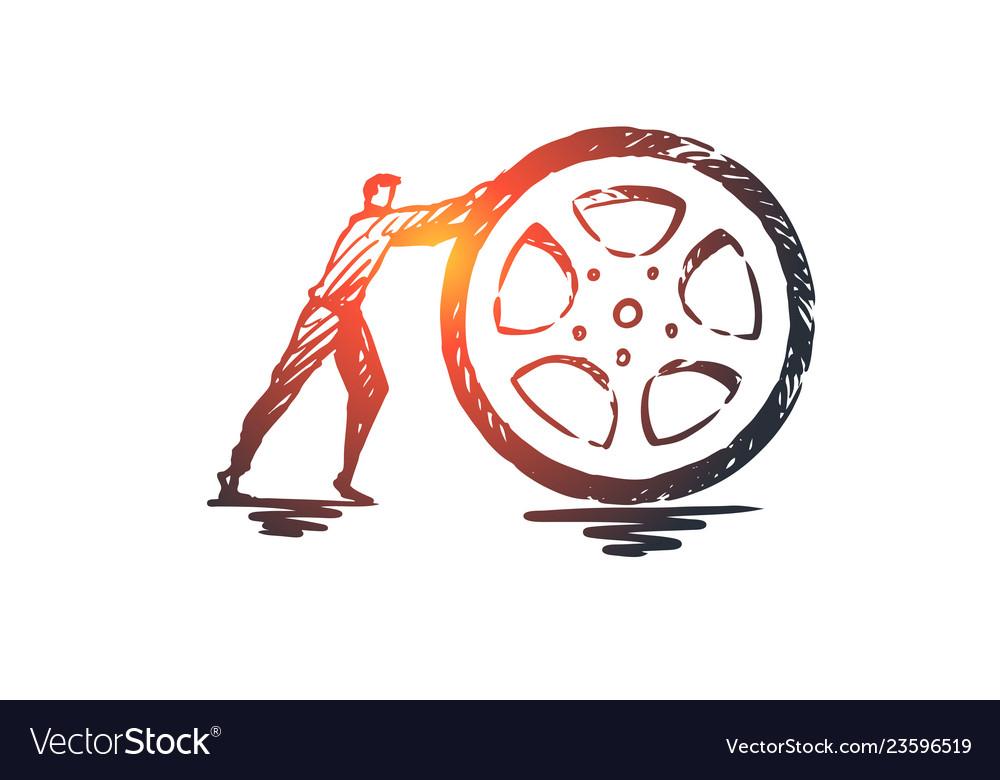 Tire wheel auto transport repair concept hand