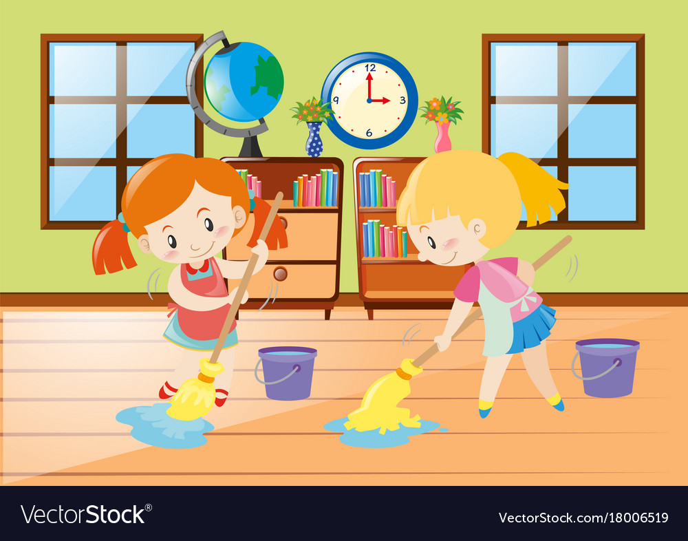 Brilliant Two Girls Cleaning Room Download Free Architecture Designs Viewormadebymaigaardcom