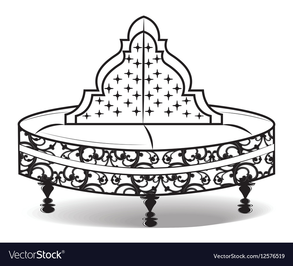 Vintage Round Sofa Ornamented Vector Image