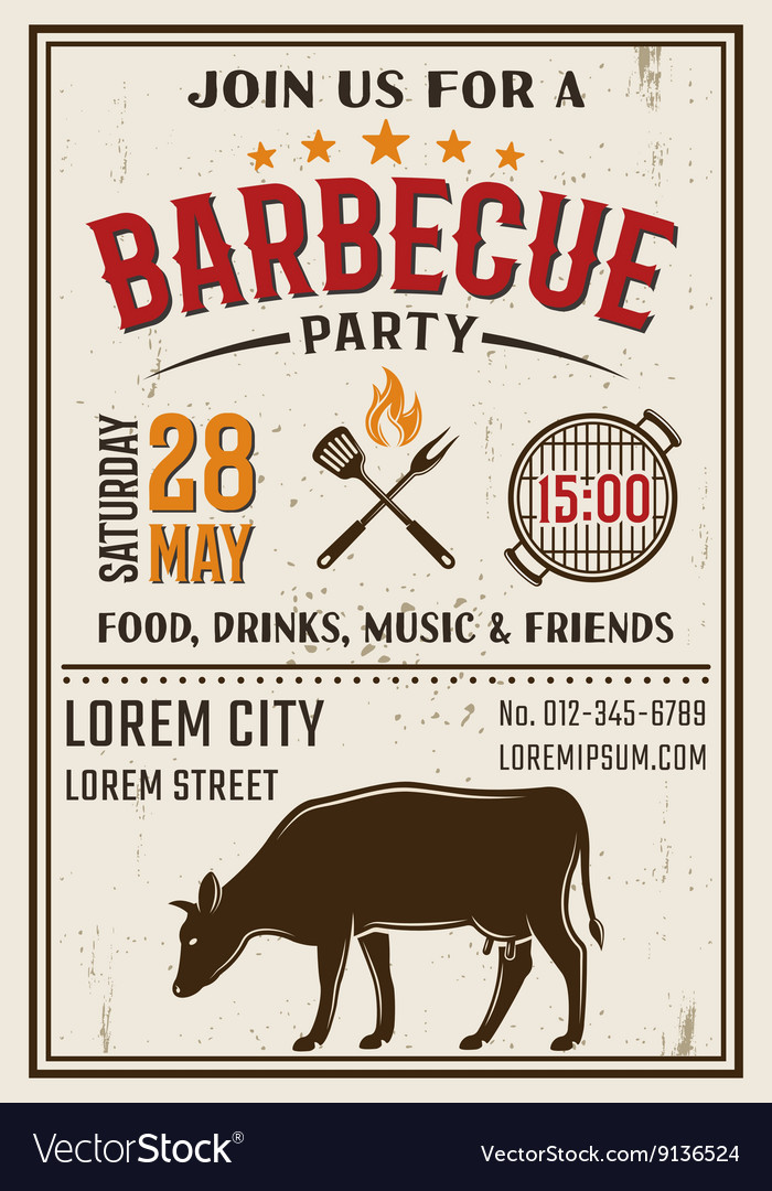 Barbecue Party Retro Style Poster