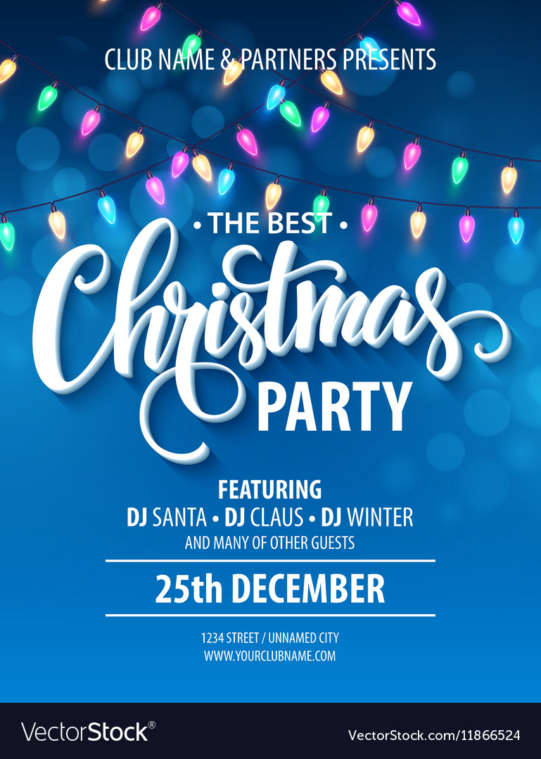 christmas party invitation poster with hand vector image