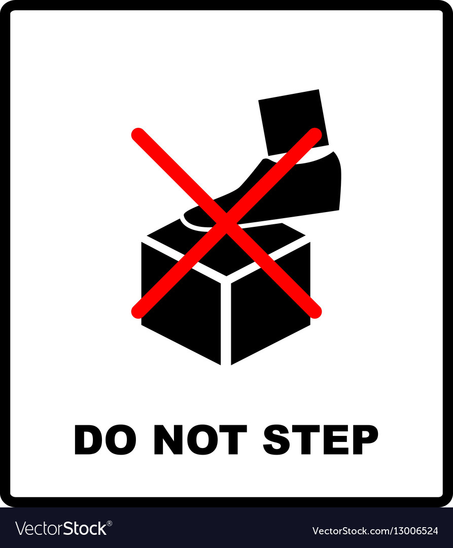 DO NOT STEP packaging symbol on a corrugated