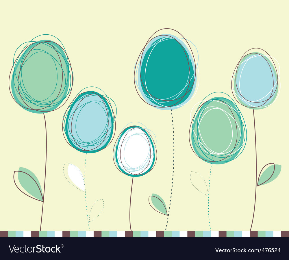 Easter eggs flowers card vector image